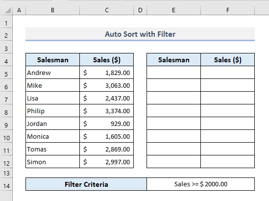 Auto Sort by Filtering When Data Changes in Excel