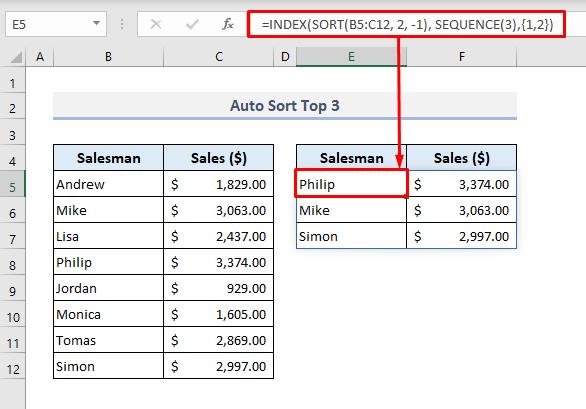 Auto Sort Top 3 When Data Changes in Excel