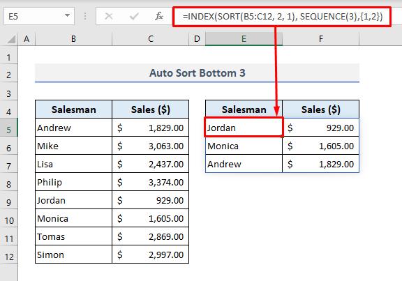 Auto Sort Bottom 3 When Data Changes in Excel