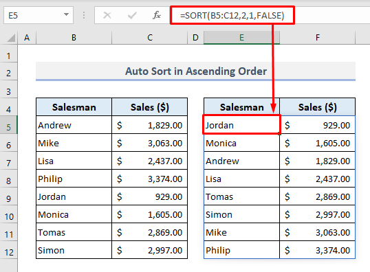 auto sort in ascending order when data changes in excel