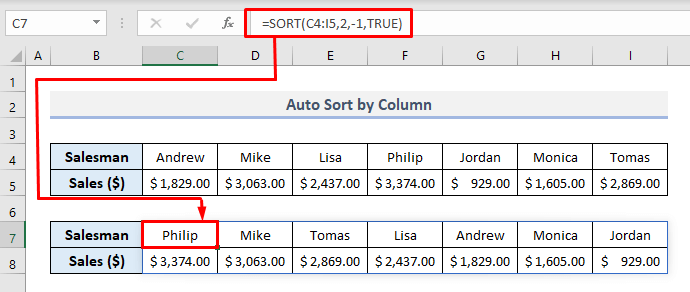 auto sort by column when data changes in excel