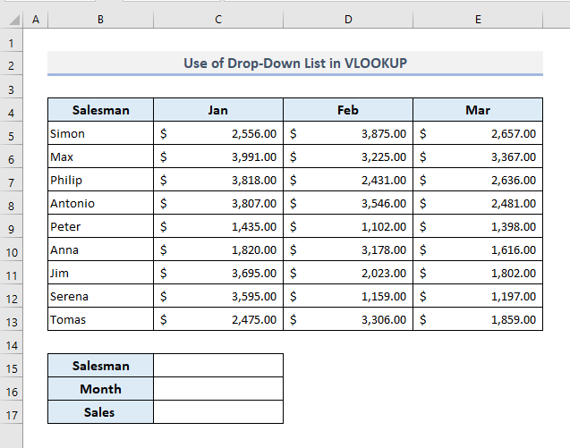 vlookup with drop down list - creating dataset