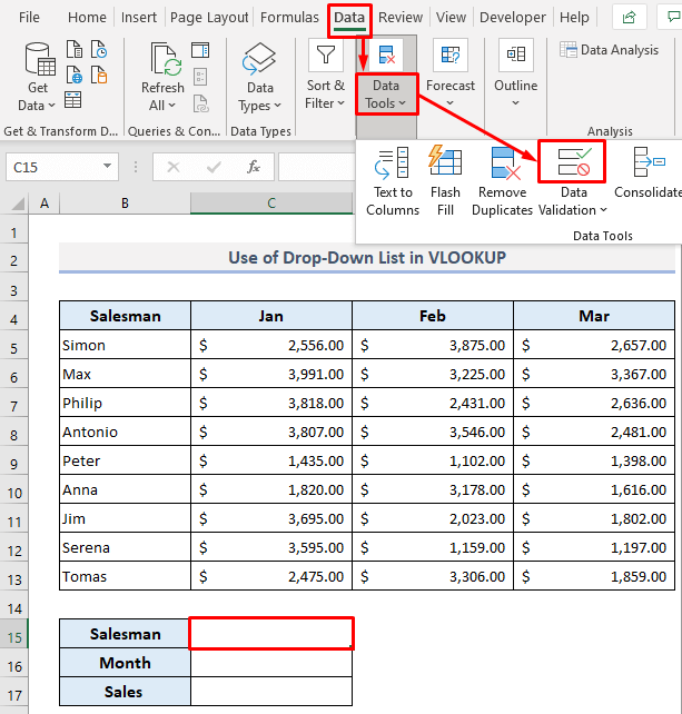 vlookup with drop down list - Setting Up the Drop Down Lists