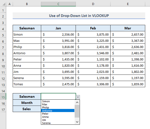 Using VLOOKUP with Drop Down Items in Excel