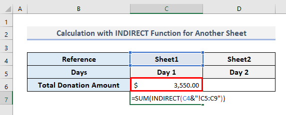 Numeric Calculation with INDIRECT Function While Referring to a Sheet Name