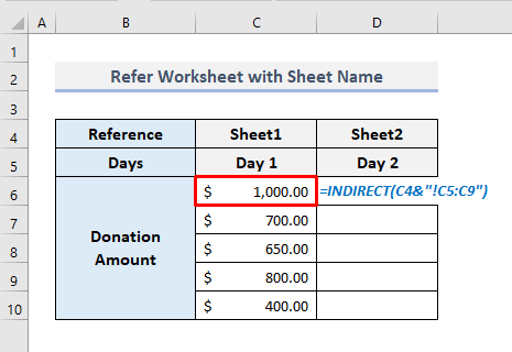 INDIRECT Function with Sheet Name to Refer Another Worksheet