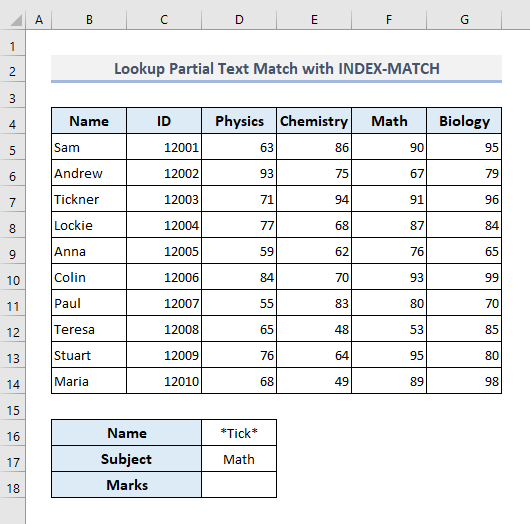 Lookup Partial Text Match with INDEX-MATCH Functions