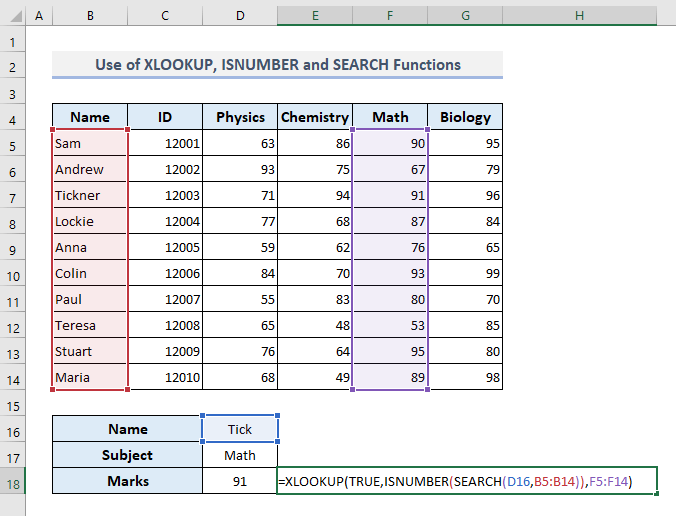 Combining XLOOKUP, ISNUMBER, and SEARCH Functions to Lookup Partial Text Match