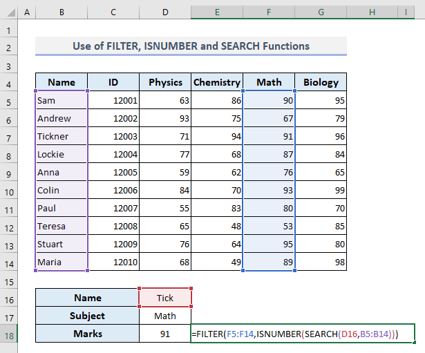 Use of FILTER, ISNUMBER, and SEARCH Functions to Lookup Partial Text Match