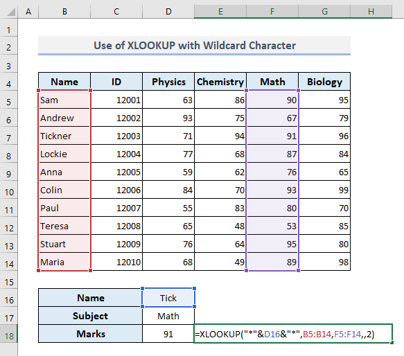 XLOOKUP with Wildcard Character to Lookup Partial Text Match