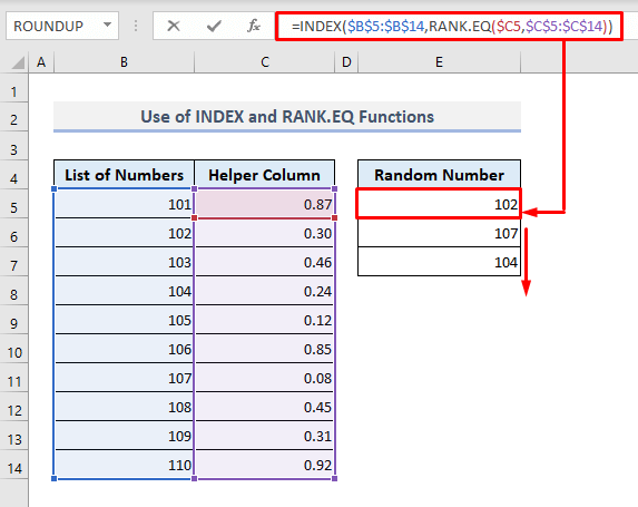 use of index and rank.eq functions to generate random number from list in excel