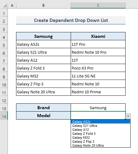 Create a Dependent Drop Down List in Excel