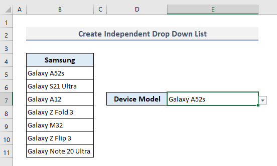 Create an Independent Drop Down List in Excel