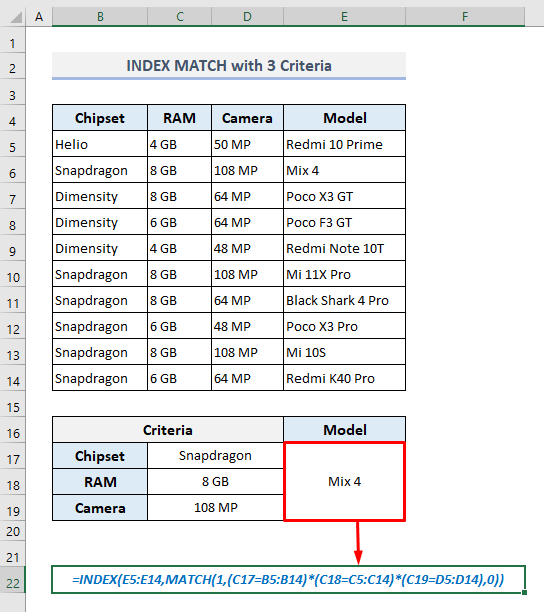index match with 3 criteria in excel array formula
