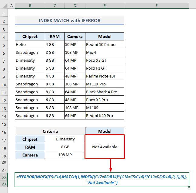 index match with iferror function 3 criteria in excel