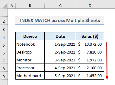 use of index match across multiple sheets in excel