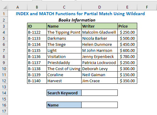 INDEX and MATCH Functions for Partial Match Using Wildcard
