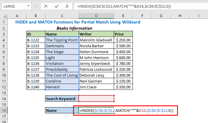 Enter formula using INDEX and MATCH Functions