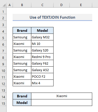 textjoin function to lookup and return multiple values concatenated into one cell in excel