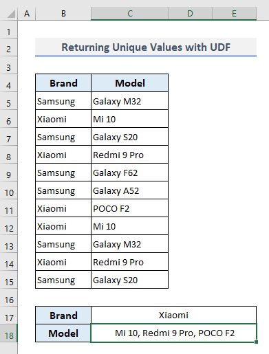 use of vba to lookup and return multiple unique values concatenated into one cell in excel