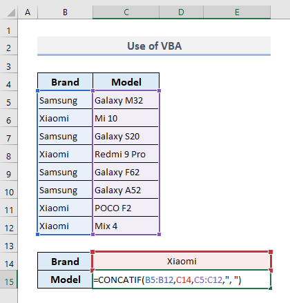 use of vba to lookup and return multiple values concatenated into one cell in excel