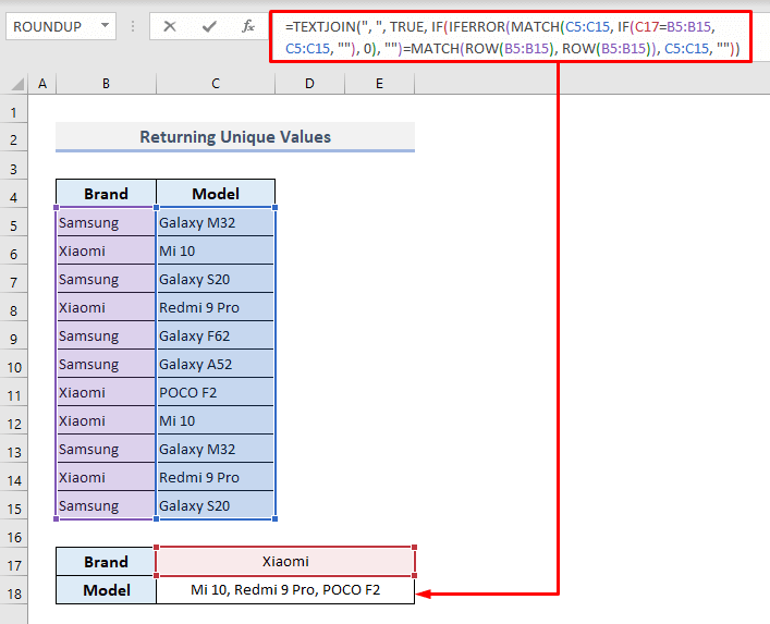 lookup and return multiple unique values concatenated into one cell in excel