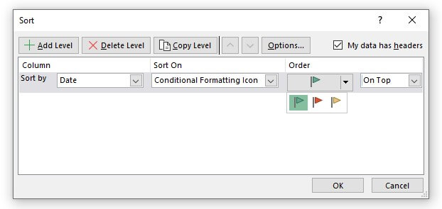 sort by icon color in excel