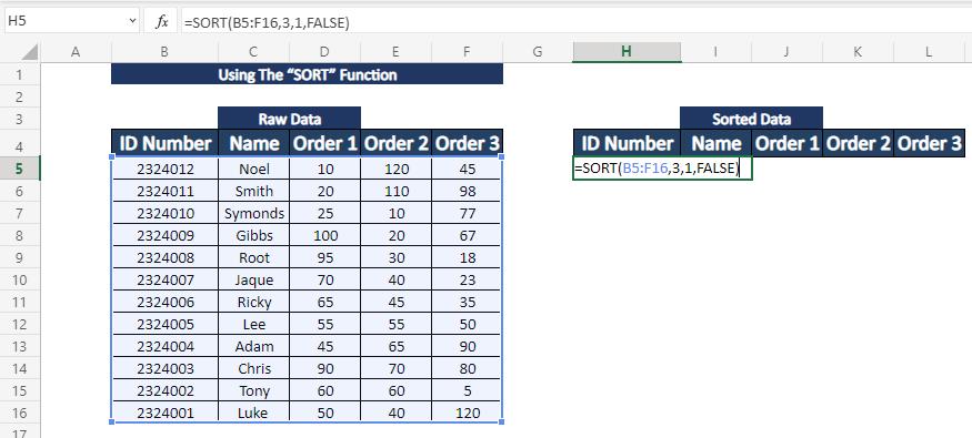 applying sort function