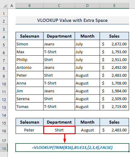 VLOOKUP a Value Containing Extra Space(s) in Excel