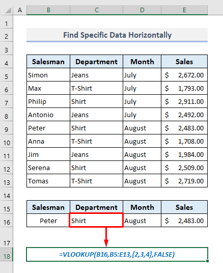 VLOOKUP Practices to Find Specific Data or Array Horizontally from a Table