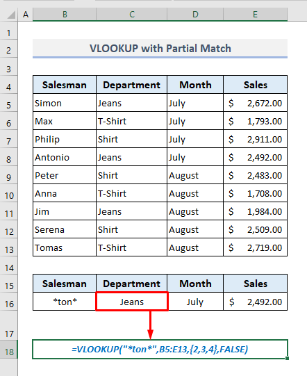 VLOOKUP Practices to Pull Out Data Based on Partial Match in Excel