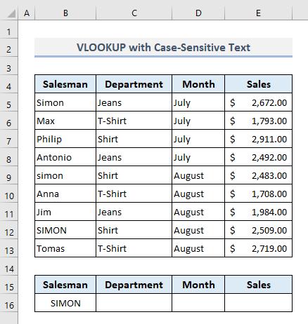 VLOOKUP practices to find case-sensitive text in excel