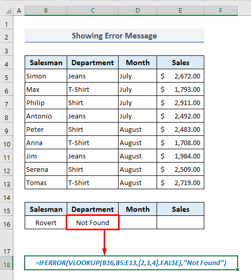Showing Error Message If Data Not Found with VLOOKUP