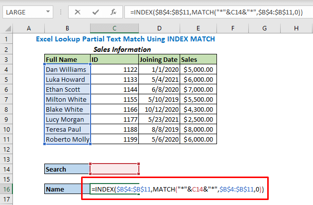 Formula using INDEX and MATCH functions