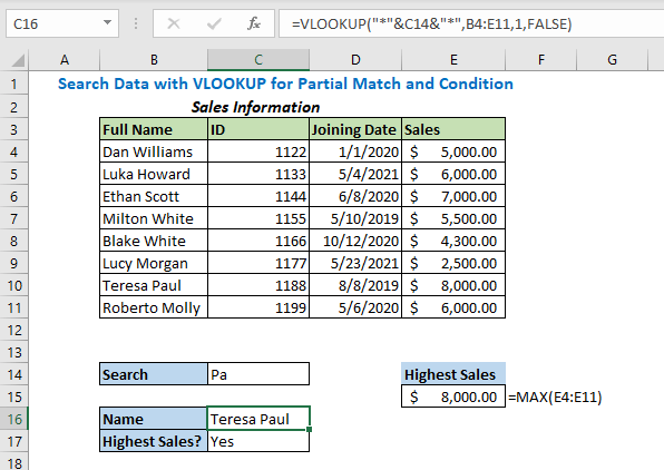 vlookup for partial match