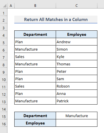 VLOOKUP and Return Multiple Matches in a Column