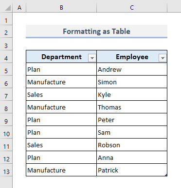 VLOOKUP and Return All Values by Formatting as Table