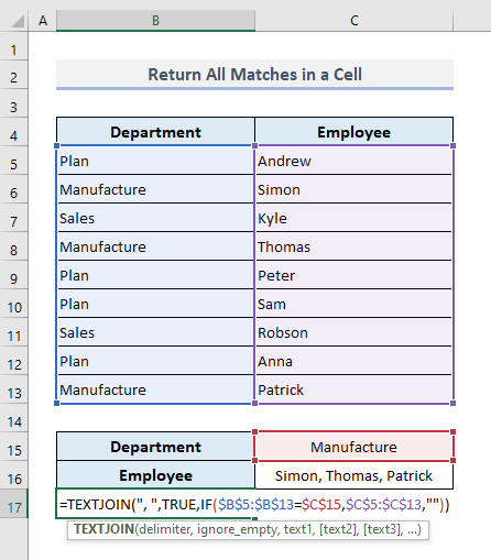 VLOOKUP to Pull Out All Matches into a Single Cell in Excel