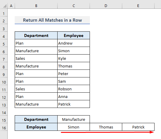 VLOOKUP and Return All Matches in a Row in Excel