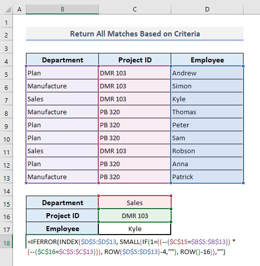 VLOOKUP to Return Multiple Values Based on Criteria