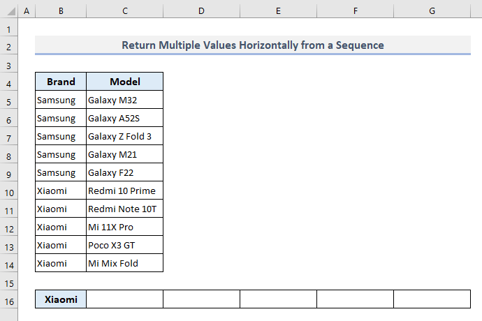 vlookup and return multiple values horizontally in excel from a sequence of data