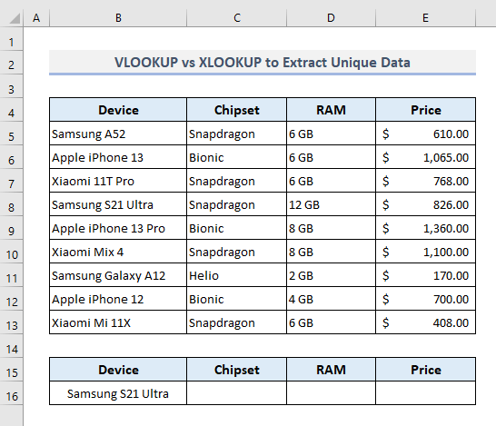 XLOOKUP and VLOOKUP to Lookup Unique Value and Extract Data