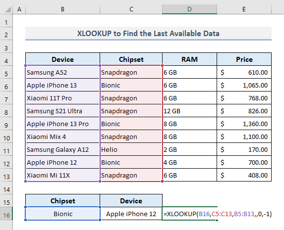 Extract Data Based on the Last Occurrence with XLOOKUP Only