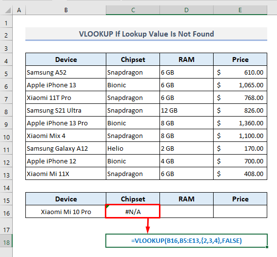VLOOKUP is Unable to Show Message If Lookup Value Is Not Found