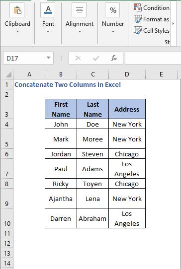 Data - Concatenate Two Columns In Excel