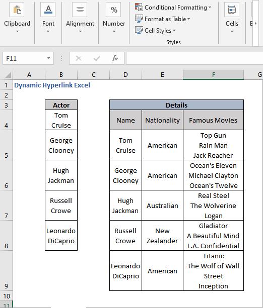 Dataset - Dynamic Hyperlink Excel