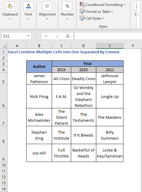 Dataset - Excel Combine Multiple Cells Into One Separated By Comma