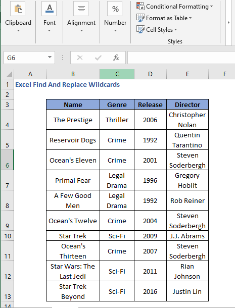 Dataset - Excel Find And Replace Wildcards