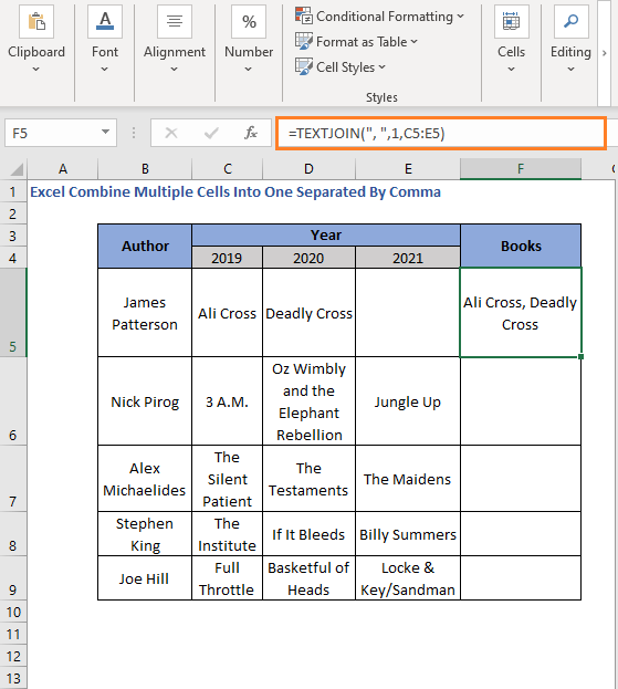 TEXTJOIN Ignores empty cells - Excel Combine Multiple Cells Into One Separated By Comma