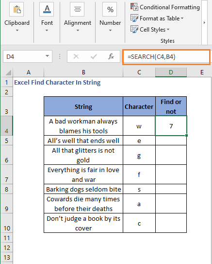 Result of SEARCH function as number